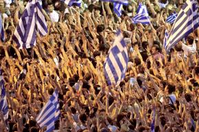 Demonstrators in Syntagma Square outside the Greek parliament building in Athens