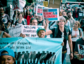 Demonstrators on the march against austerity in New York City