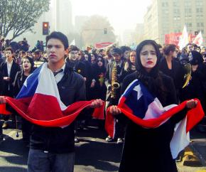 Chilean students strike, march and mourn the death of public education