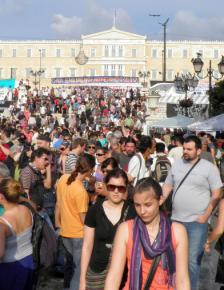 Another day of mass demonstrations fills Syntagma Square in Athens