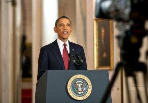 President Obama at a press conference in May