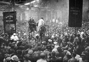 A mass meeting in the Putilov Works in Petrograd during the 1917 Russian Revolution