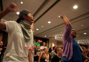 Socialism 2011 participants join in a final rally to cheer the struggles unfolding around the world
