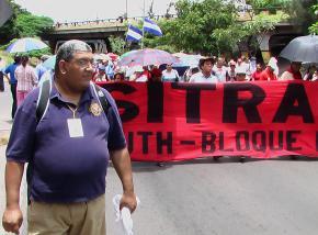 Miguel Luna marching at a demonstration in Tegucigalpa, Honduras