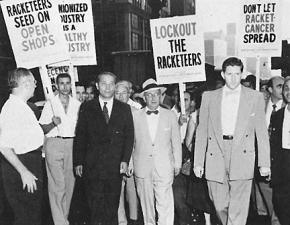 An anti-union rally to promote the use of the Landrum-Griffin Act against organized labor