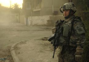 U.S. soldier on patrol in the Jamia neighborhood in Baghdad