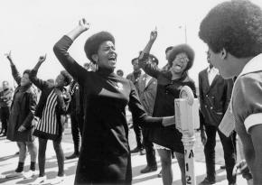 Black Panther Party members rally in 1968