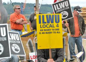 Members of ILWU picketing in July at the Port of Longview