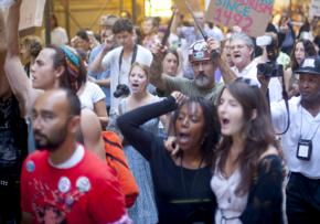 Wall Street occupiers march on Columbus Day
