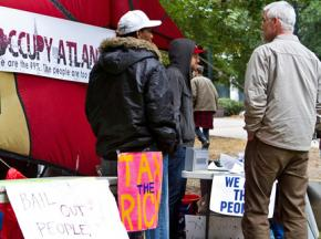 Occupy Atlanta participants in the renamed Troy Davis Park