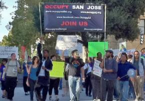 Occupy San Jose marching through Plaza de Caesar Chavez