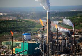 A Suncor tar sands refinery in Alberta, Canada that emits 100 million tons of carbon every day