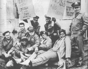 Striking postal workers in Detroit