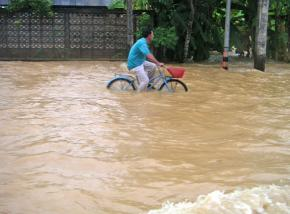 Flooded roadways in the town of Chumpon in Thailand