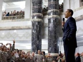 President Obama speaking to U.S. troops