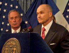 New York Police Commissioner Raymond Kelly at a press conference with Mayor Michael Bloomberg