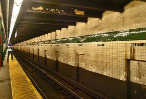 Inside a New York subway station