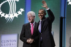 President Barack Obama with former President Bill Clinton