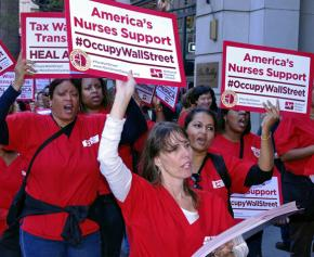 Nurses marching in support of the Occupy movement