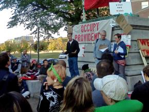 A general assembly under way at Occupy Providence