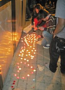 Activists created a memorial for the victim of a shooting near the Occupy Oakland encampment