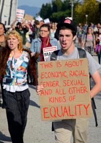 Occupy Santa Cruz marches toward the base of campus