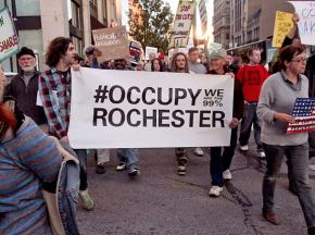 Rochester Occupiers marching on the November 2 day of action in solidarity with Occupy Oakland