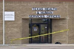 Outside the Department of Health and Human Services office in Laredo following the shootings