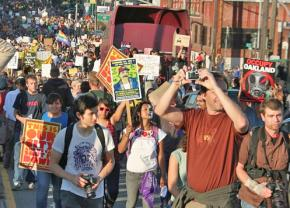 Protesters march toward the Port of Oakland on November 2nd