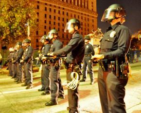 Los Angeles police prepare to raid the Occupy LA encampment