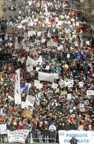Half a million people march against the impending invasion of Iraq in New York on February 15, 2003