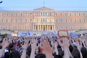 Protesters fill Syntagma Square in Athens during a general strike in May