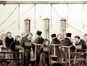A depiction of the hanging of Narodnaya Volya members after the assassination of Tsar Alexander II