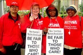 Members of the New York State Nurses Association rally for fair contracts