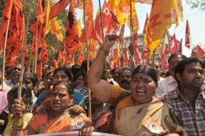 Participants in India's largest-ever general strike march in Hyderabad