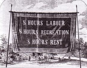 A banner for the eight-hour day