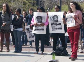 Students rally at University of Wisconsin in Madison to demand justice for Trayvon Martin and Bo Morrison