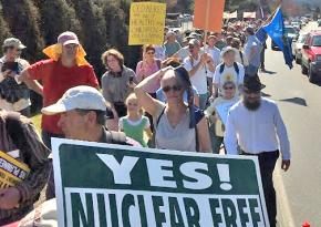 Some 1,000 people marched in the biggest demonstration against the Vermont Yankee plant in years