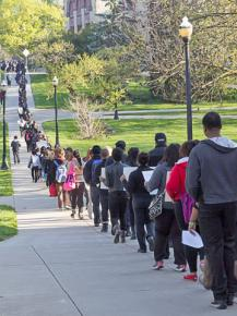 Antiracist demonstrators march across the Ohio State University campus