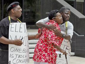 Community members celebrated the conviction of five officers involved in the Danziger Bridge shooting