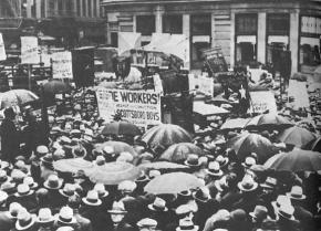 A massive rally in defense of the Scottsboro Boys organized by the Communist Party in 1933