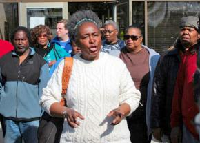 Mental Health Movement coalition activists speak out against the closure of the Woodlawn Mental Health Center