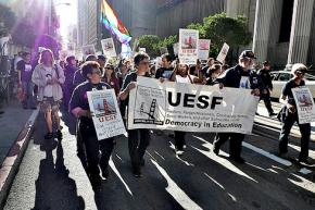 Members of United Educators of San Francisco on the march