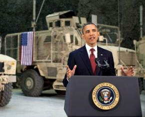 President Obama speaks at Bagram Airfield during a surprise visit to Afghanistan