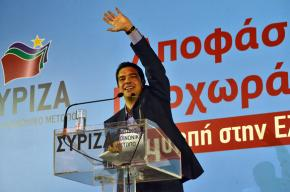 Alexis Tsipras speaks to a mass rally of SYRIZA supporters in Thessaloniki