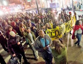 Occupy Wall Street on the march to mark the six-month anniversary of the Zuccotti Park encampment