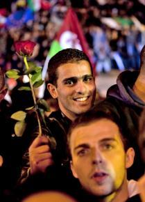 Celebrating the defeat of Nicolas Sarkozy outside the Bastille on election night