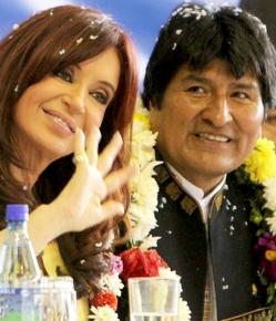 Argentinian President Cristina Kirchner with Bolivian President Evo Morales