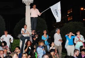 SYRIZA supporters celebrate on election night in Athens