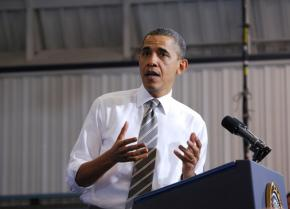 President Obama delivers a campaign speech at a community college